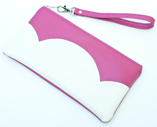 Side View Leather Handbag Pink Clutch
