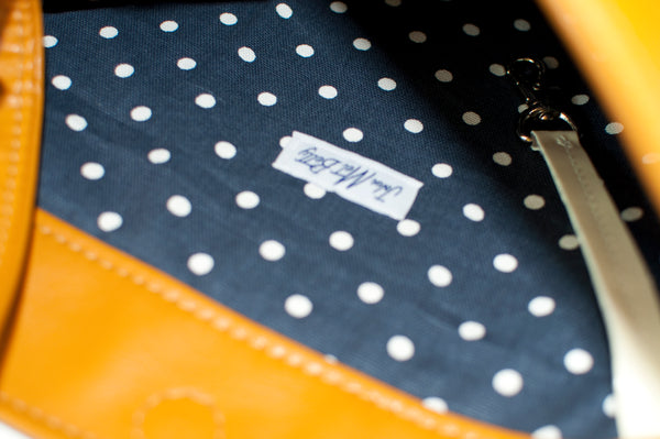 Mustard Cloud Tote Lining Navy and White Canvas Dots