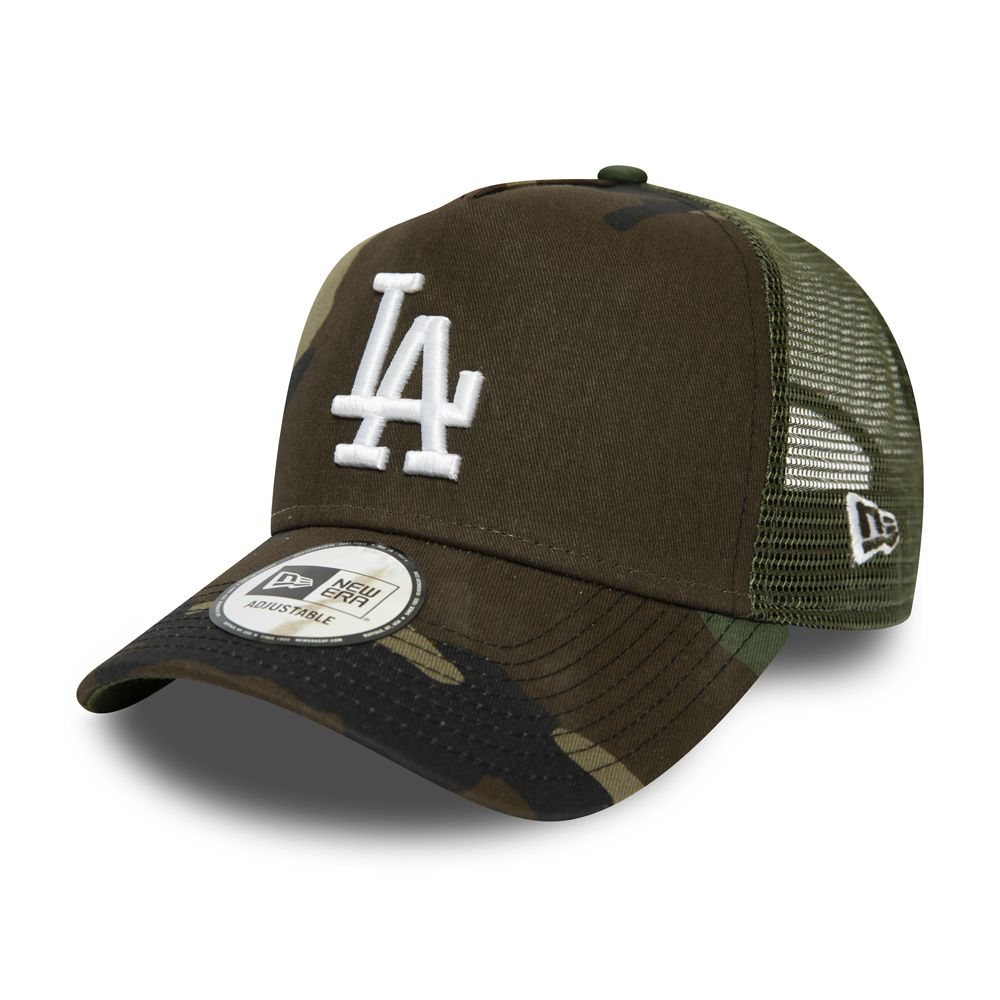 Casquette New Era TRUCKER A Frame Essential Los Angeles Dodgers wood camouflage
