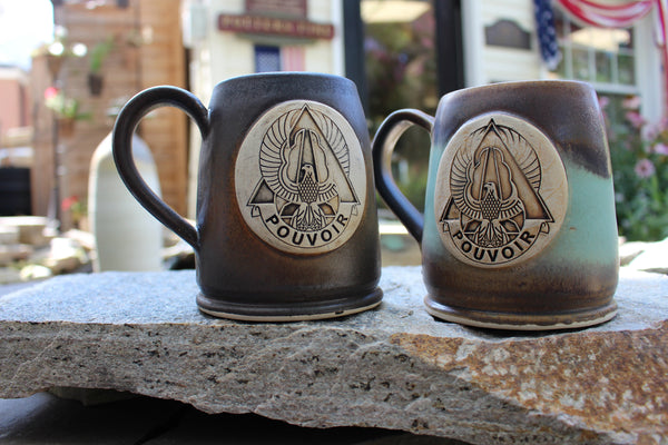 227th Aviation Regiment Custom Coffee Mugs in Java (left) and Heirloom (right) glaze schemes)
