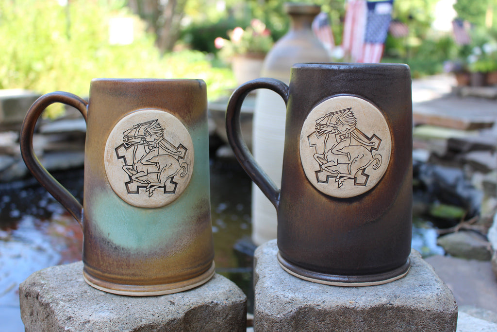 9th Cavalry Regiment Custom Beer Mugs in Heirloom (left) and Java (right) glaze schemes