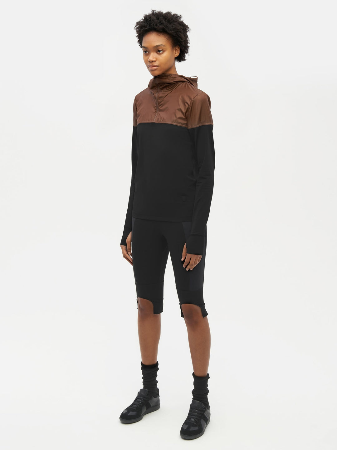 Hooded Bicolour Top Black