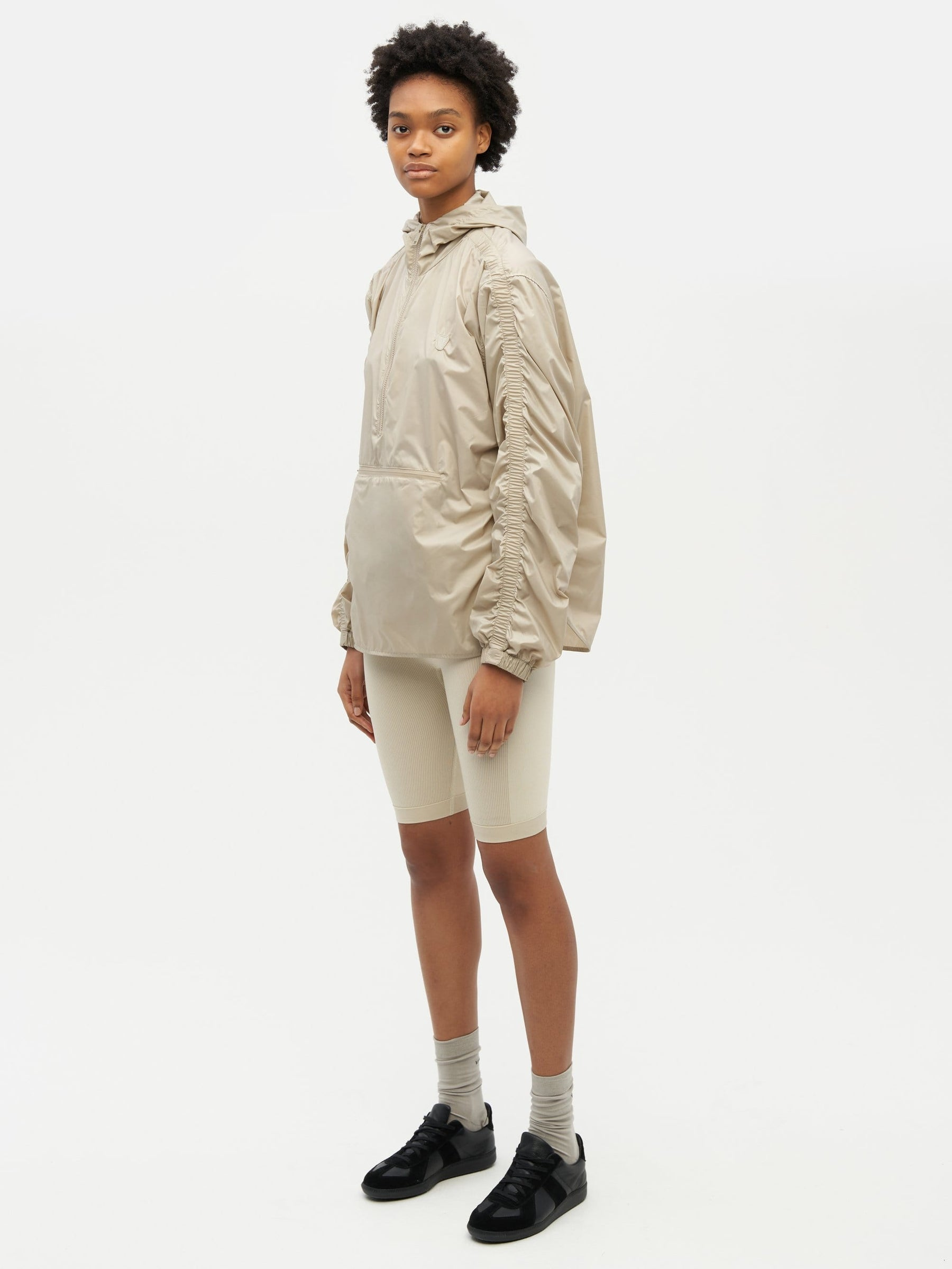 Unisex Ruched Short Anorak Neutral