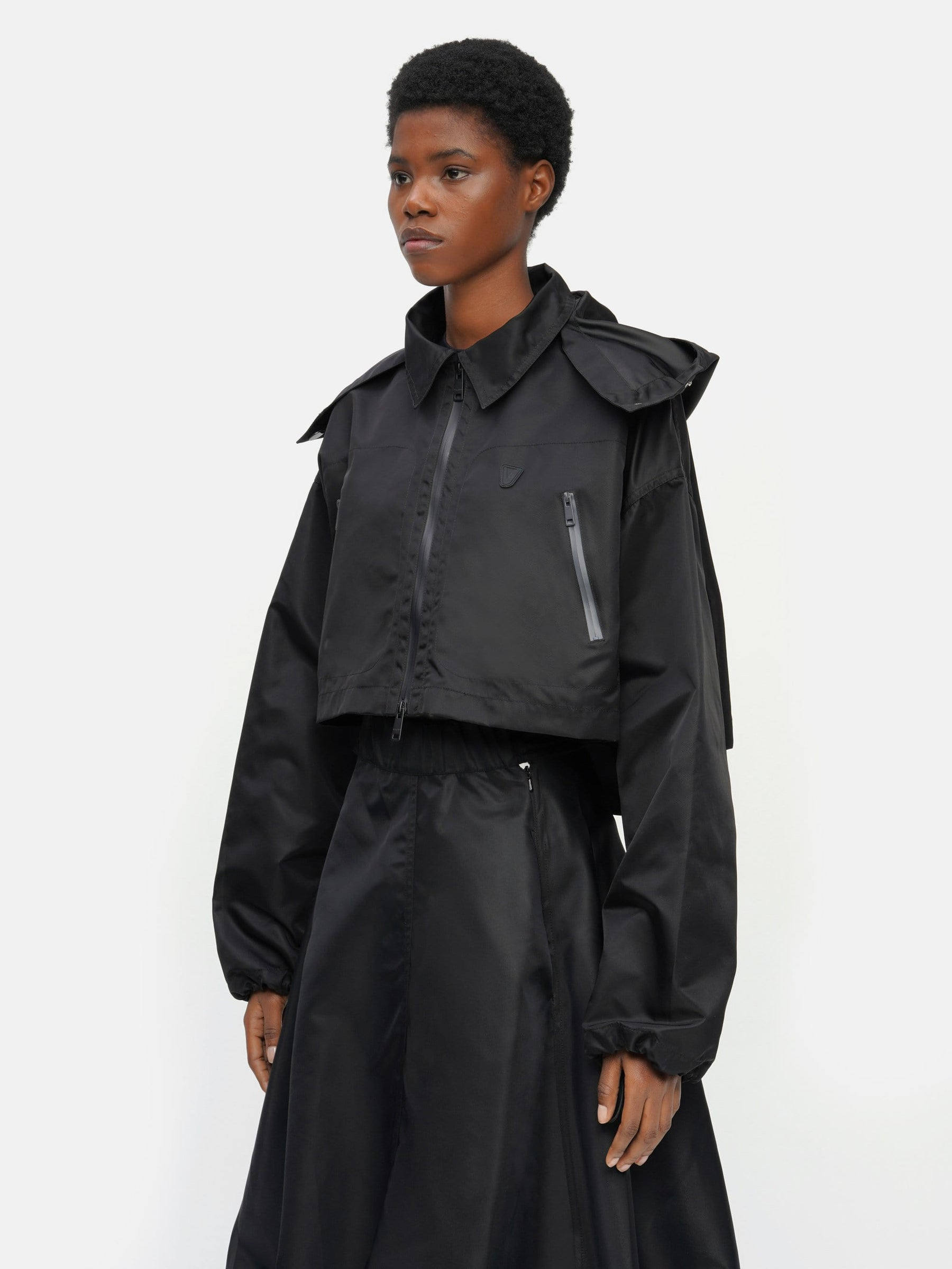 Cropped Packable Parka Black