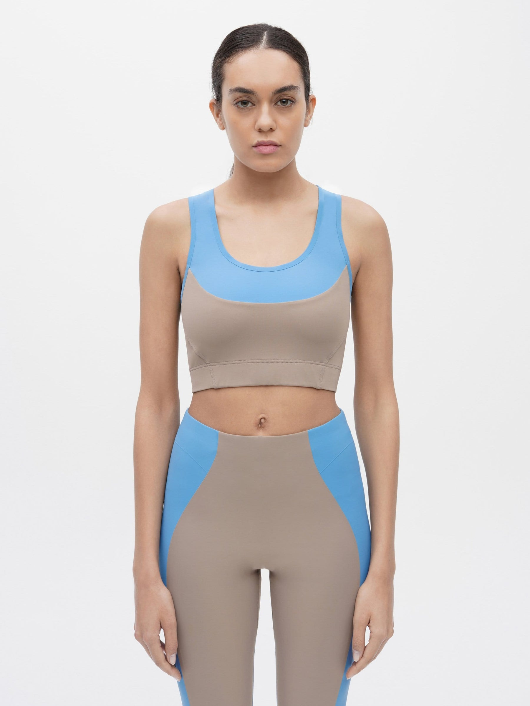 Bicolour Sports Crop Bra Blue