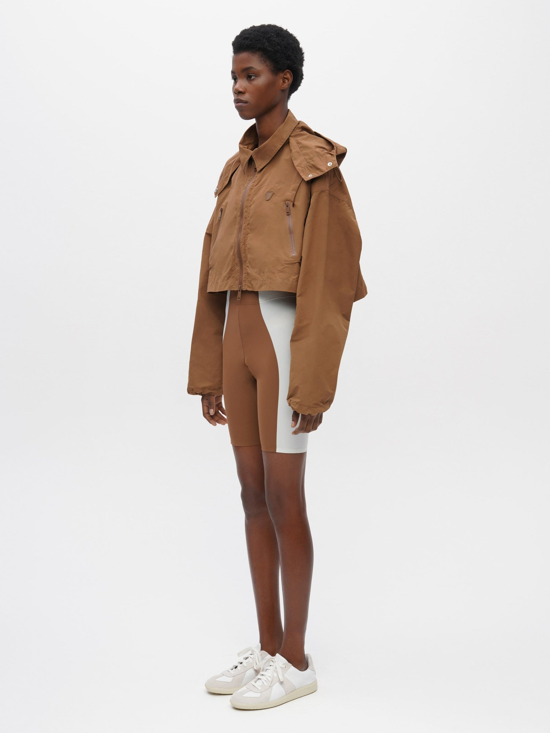 Cropped Packable Parka Brown