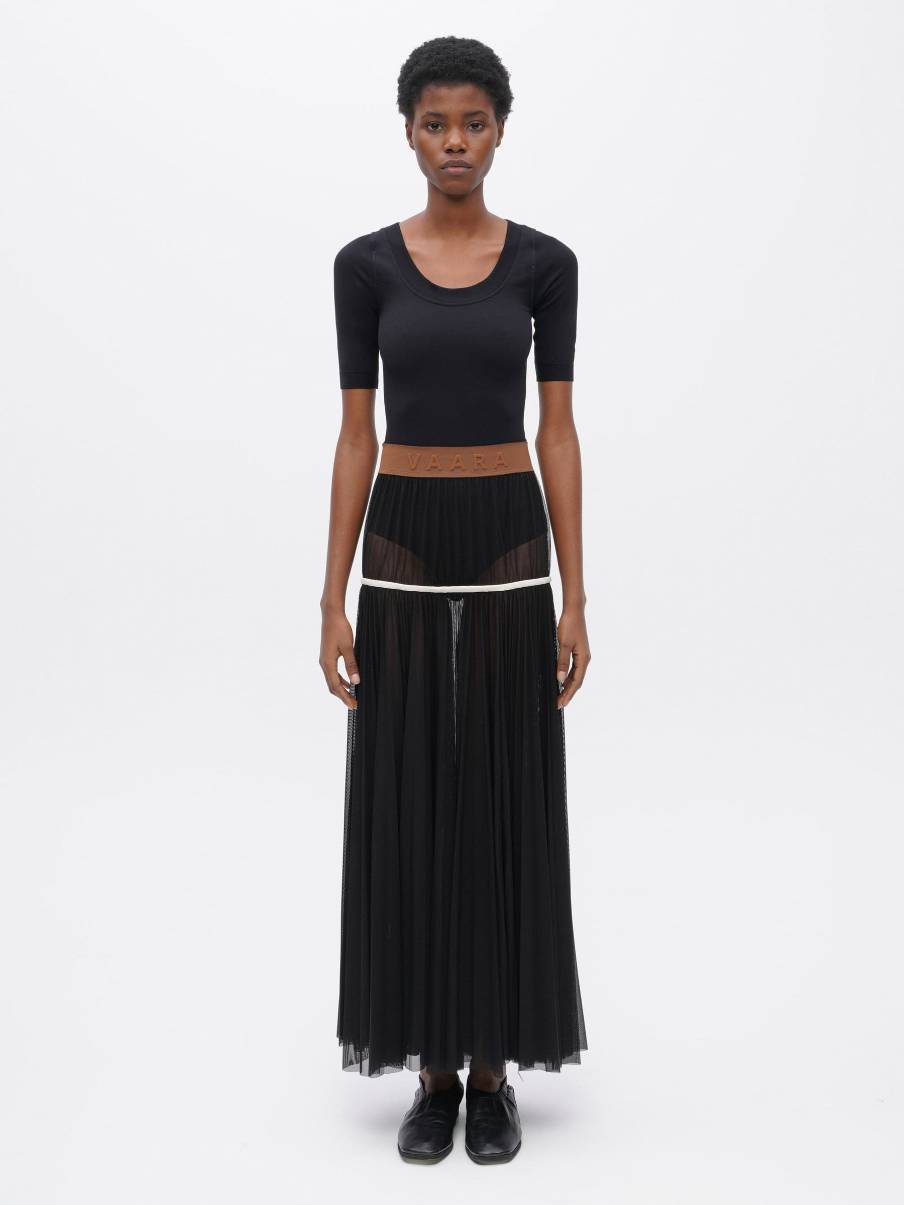 Powermesh Pleated Skirt Black