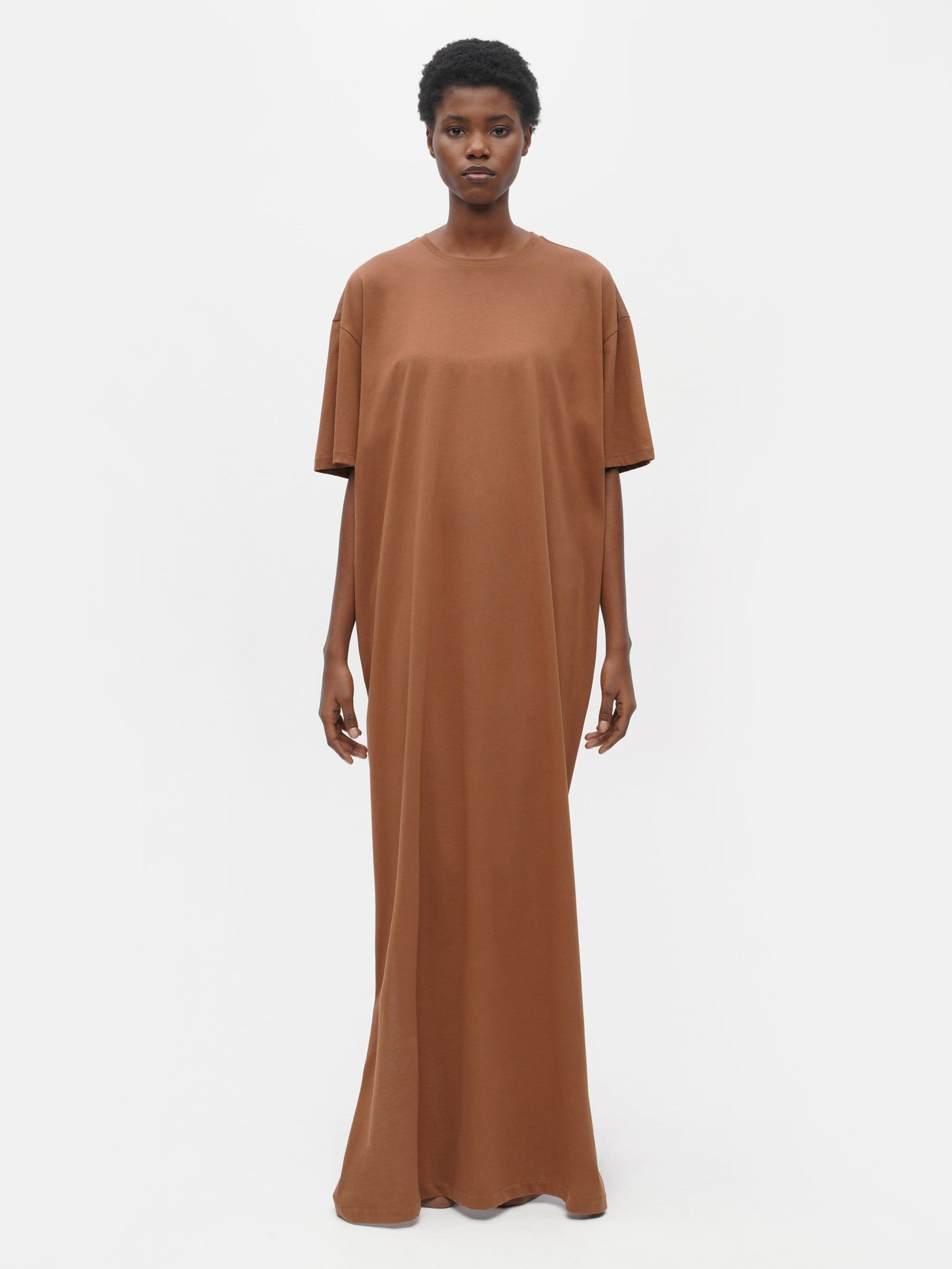 Long Oversized T-Shirt Dress Brown