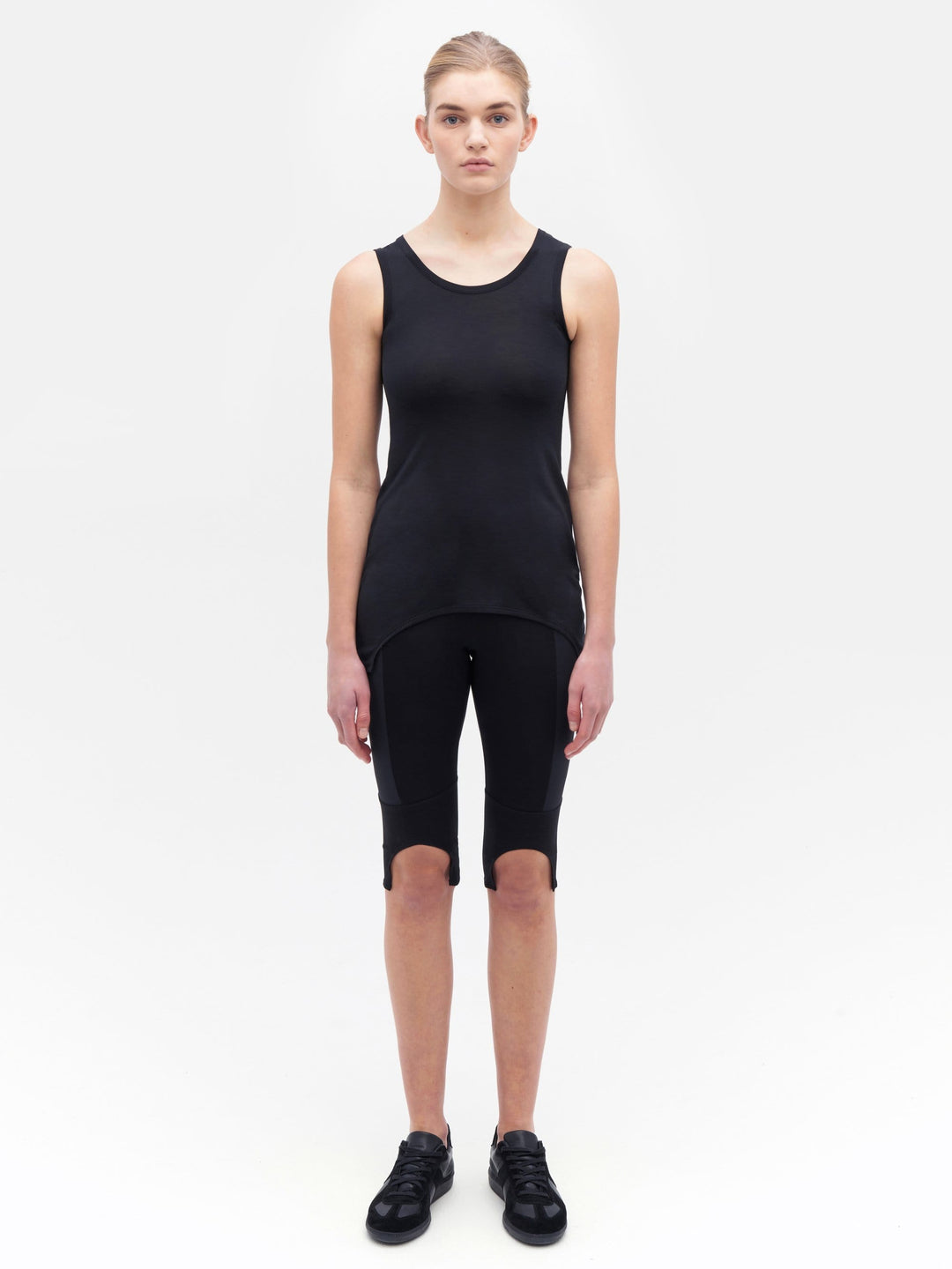 Simple Cut Away Hem Tank Black