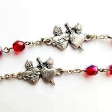 Load image into Gallery viewer, Rosary with Sacred and Immaculate Heart Centers and Ruby Glass Beads