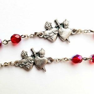 Rosary with Sacred and Immaculate Heart Centers and Ruby Glass Beads