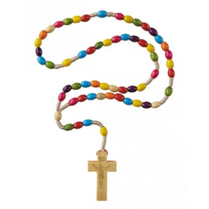 Rosary - Multi-Color Wood Oval Beads