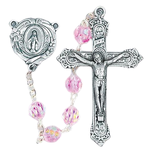 Light Rose Crystal Rosary