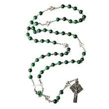 Load image into Gallery viewer, Rosary - 8mm Green Glass - Shamrocks - Claddagh