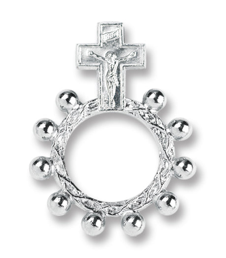 ROSARY RING - CRUCIFIX - SILVERTONE