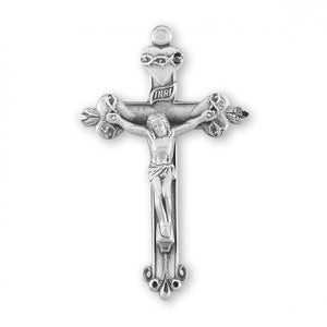 Sacred Hearts Crucifix - Sterling Silver, 1.8""