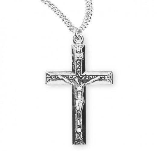 Silver Debossed Swirled Crucifix Necklace