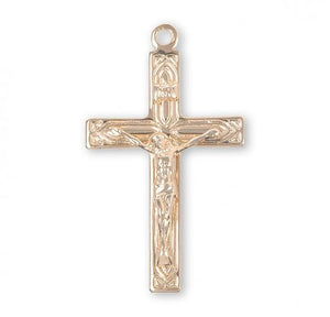 Art Deco Design Crucifix - Gold over Sterling, 1.3""
