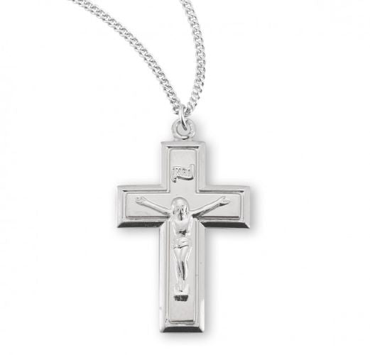Silver Crucifix Necklace with a Flat Corpus