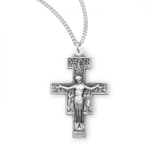 Silver San Damiano Crucifix Necklace