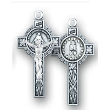 Load image into Gallery viewer, Miraculous Medal Crucifix - Sterling Silver, 1.6""