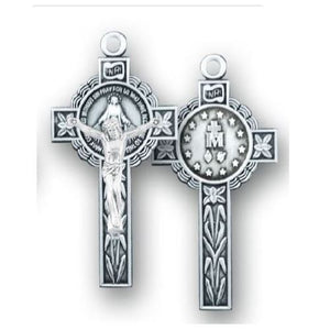 Miraculous Medal Crucifix - Sterling Silver, 1.6""