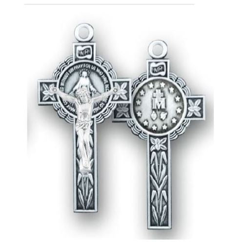 Miraculous Medal Crucifix - Sterling Silver, 1.6