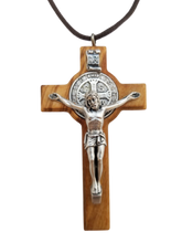 Load image into Gallery viewer, St. Benedict Crucifix, Olive Wood, 2.75""