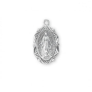 "Sterling Silver Miraculous Medal with Art Deco frame, 18"" chain"