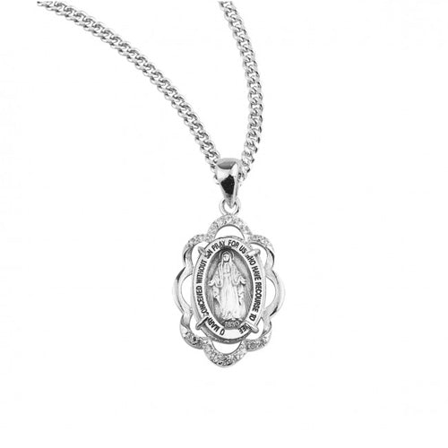 Sterling Silver Miraculous Medal with Crystal CZ, 18