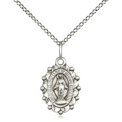 Sterling Silver Miraculous Medal with Studded Frame, 18