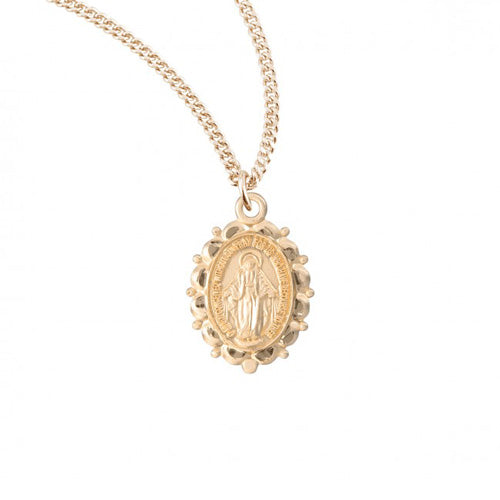 Gold/Sterling Silver Miraculous Medal with Scalloped Edge, 18