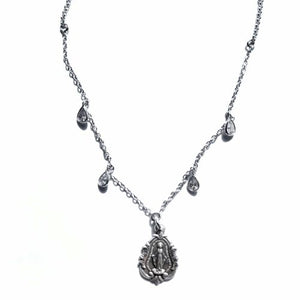 "Sterling Silver Miraculous Medal with Tear-shaped CZ accents, 23"" chain"
