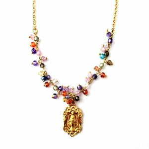 "Gold/Sterling Silver Miraculous Medal with Multicolor CZ, 18"" chain"