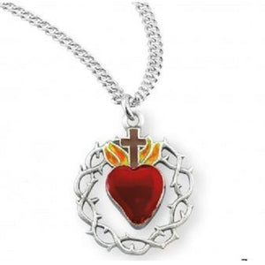 Sacred Heart in Crown of Thorns Pendant