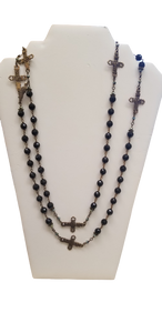 BLACK CRYSTAL NECKLACE WITH CROSSES