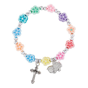 Bracelet - Reconciliation - Flower Beads and Lamb Charm