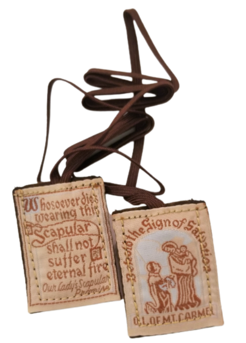 BROWN SCAPULAR WITH BROWN CORD
