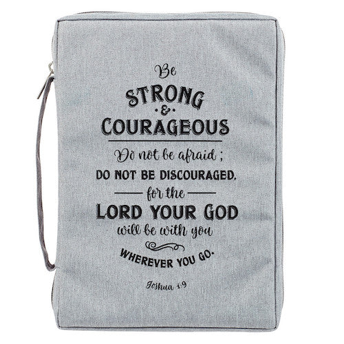 Strong And Courageous Canvas Bible Cover