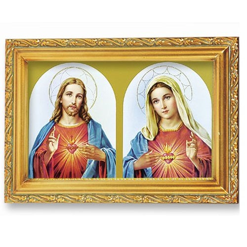 The Sacred Hearts under Gold-Framed Glass
