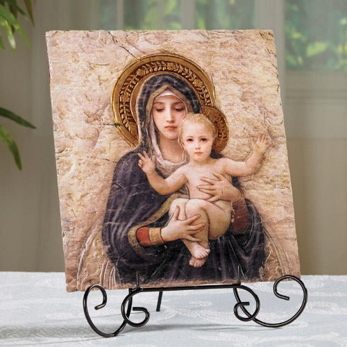 Tile Plaque - Madonna and Child - 8