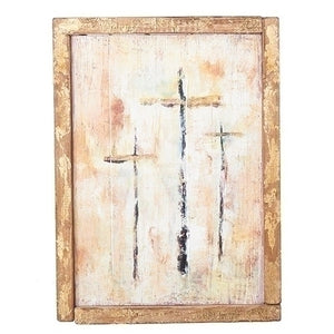 "THE CRUCIFIXION ON CALVARY - A CONTEMPORARY RENDITION  - 15"" FRAMED WOOD PANEL"