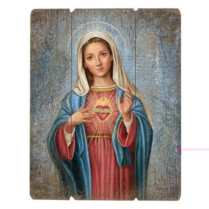 Immaculate Heart of Mary Wood Plaque