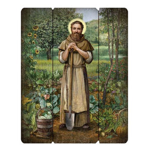 St. Fiacre, Patron of Gardeners, Wood Plaque