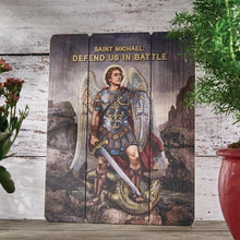 "Load image into Gallery viewer, PLAQUE - ST MICHAEL DEFEND US - 12"" X 15"" WOOD"