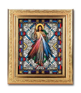 Divine Mercy-Textured Italian Art Glass-gold frame