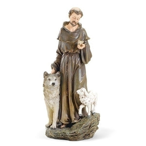 St. Francis with a Wolf Statue 9.75""