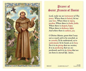 HOLY CARD-ST. FRANCIS-PRAYER FOR PEACE