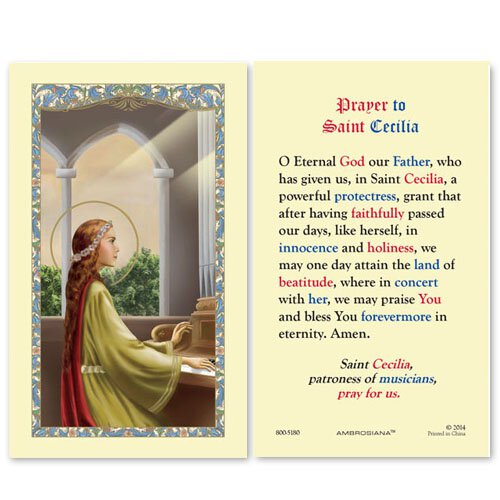 ST CECILIA HOLY CARD - PRAYER ON BACK