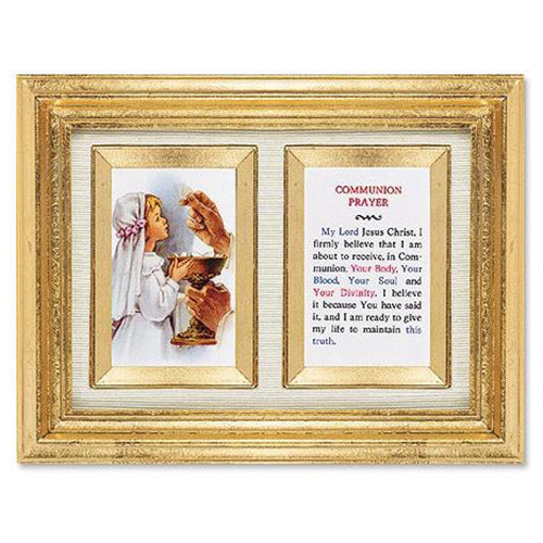 First Communion Prayer Print with Gold Leaf, 6.5